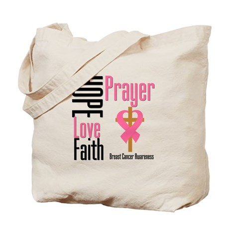 Breast Cancer Prayer Ribbon Tote Bag