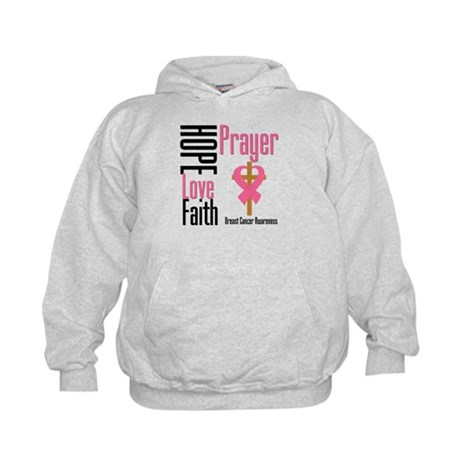 Breast Cancer Prayer Ribbon Kids Hoodie