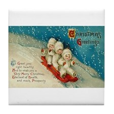 Vintage Christmas Art Tile Coaster