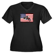 AMERICAN BIKE Women's Plus Size V-Neck Dark T-Shir