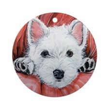 Westie Puppy Love Ornament (Round)