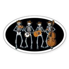 Cowboy Music Skeletons Oval Sticker (10 pk)