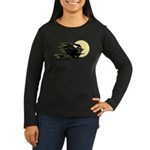 Witch on Broom Women's Long Sleeve Dark T-Shirt
