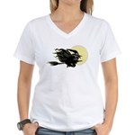 Witch on Broom Women's V-Neck T-Shirt