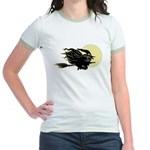 Witch on Broom Jr. Ringer T-Shirt