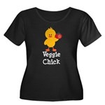 Veggie Chick Women's Plus Size Scoop Neck Dark T-S