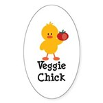 Veggie Chick Oval Sticker (50 pk)