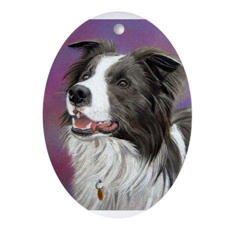Pastel Painting of Border Collie Dog Ornament (Ova