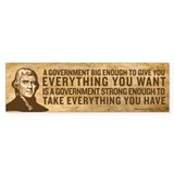 Jefferson Big Government Bumper Sticker (50 pk)