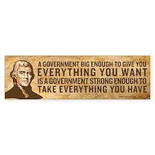 Jefferson Big Government Bumper Bumper Sticker