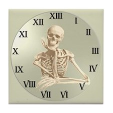 13 Hour Skeleton Clock Tile Coaster