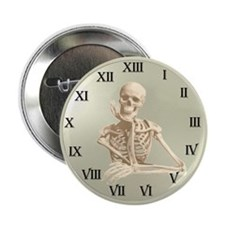 "13 Hour Skeleton Clock 2.25"" Button (10 pack)"