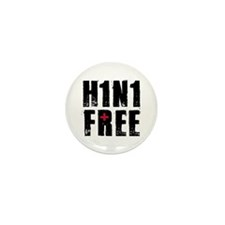 H1N1 FREE (swine flu) Mini Button (100 pack)
