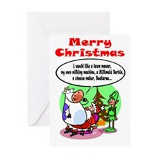 Cow Xmas Dreams Greeting Card