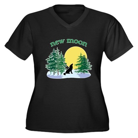 New Moon Howl Women's Plus Size V-Neck Dark T-Shir