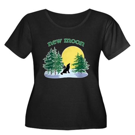 New Moon Howl Women's Plus Size Scoop Neck Dark T-