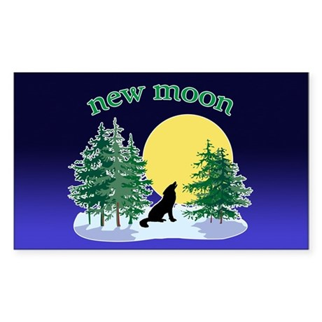 New Moon Howl Rectangle Sticker 10 pk)