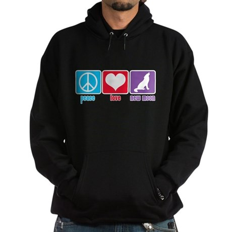 Peace Love New Moon Hoodie (dark)