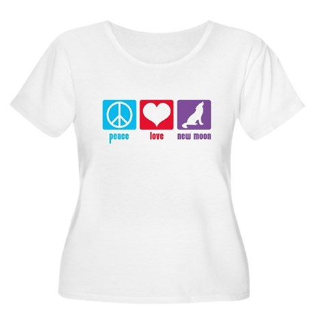 Peace Love New Moon Women's Plus Size Scoop Neck T