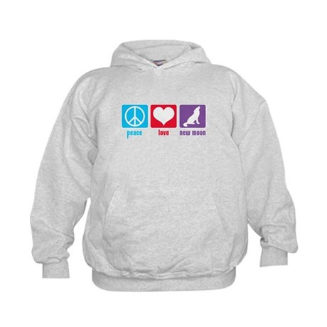 Peace Love New Moon Kids Hoodie