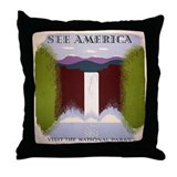 National Park Waterfall Throw Pillow