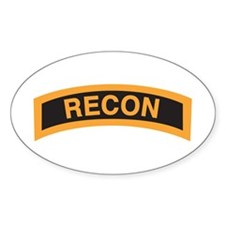 Recon Tab Black and Gold Oval Decal