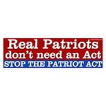 Stop the Patriot Act bumper sticker