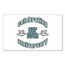 35th Wedding Doves Anniversary Rectangle Decal