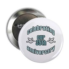 "35th Wedding Doves Anniversary 2.25"" Button"