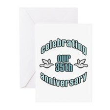 35th Wedding Doves Anniversary Greeting Cards (Pk