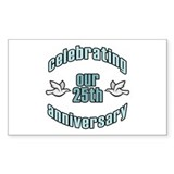 25th Wedding Doves Anniversary Rectangle Decal