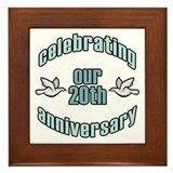 20th Wedding Doves Anniversary Framed Tile