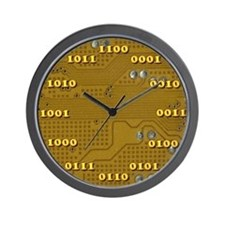 Yellow Binary Wall Clock