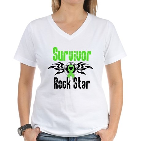 LymphomaSurvivorRockStar Women's V-Neck T-Shirt
