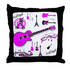 Pink Guitar Collage Throw Pillow