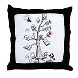 Cute Tree and books Throw Pillow