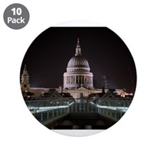 "St Pauls Cathedral at Night 3.5"" Button (10 pack)"