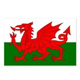 Flag of Wales (Welsh Flag) Postcards (Package of 8