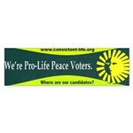 Pro-Life Peace Voters Bumper Sticker