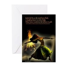 belly dance fire Greeting Cards