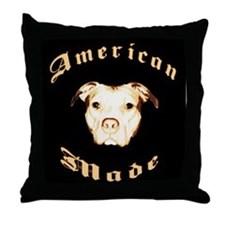Cute American pit bull terrier Throw Pillow