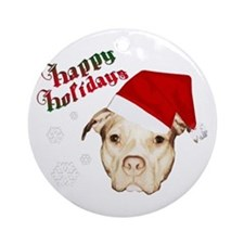 pit bull happy holidays Ornament (Round)