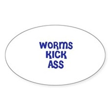 Worms Kick Ass Oval Decal