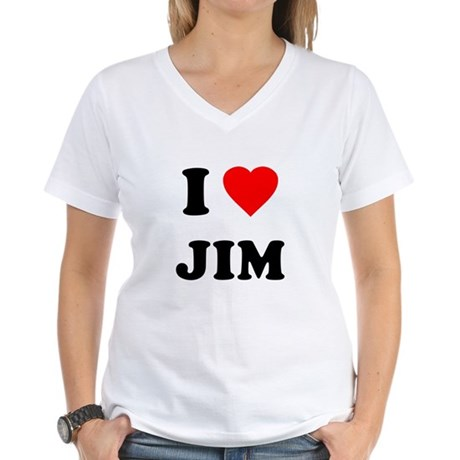 I Love Jim Womens V-Neck T-Shirt
