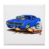 Cuda Blue Car Tile Coaster