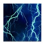 Cyan Lightning Look Tile Coaster