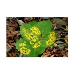 Yellow Flowers On Green Leaves Mini Poster Print