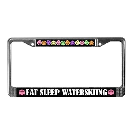 Eat Sleep Waterskiing License Plate Frame