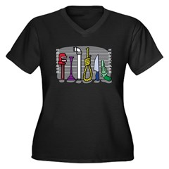 The Usual Suspects Women's Plus Size V-Neck Dark T