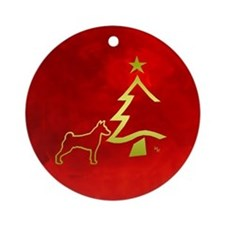 basenji happy holidays Ornament (Round)